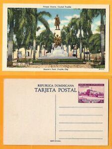 DOMINICANA VINTAGE POSTCARD PRE-PRINTING STAMP-DUARTE'S PARK -TRUJILLO PARK RARE