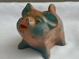 VINTAGE BANTHRICO CAST METAL PINK PIG STILL PIGGY COIN BANK