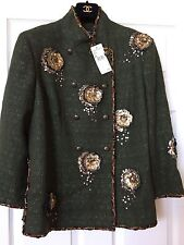 CHANEL10A NEW TAG Paris Shanghai Tweed Braided Green 3-D Gold CAMELLIAS FR48$17K