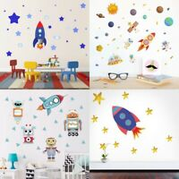 Space Rocket Wall Sticker Cartoon Stars Vinyl Decal Kids Baby Room Art Decor