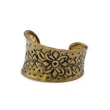 Ornate Brass Cuff Antiqued Gold Metal Bracelet Ethnic Gypsy Boho Bracelet
