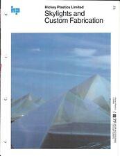 Building Brochure - Hickey Plastics - Skylights Custom Fabrication c1977 (AF75)