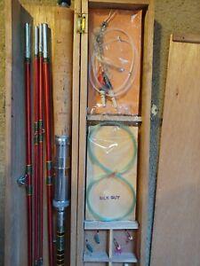 Kiraku Grampus Japanese Bamboo Fly Rod Fishing Set in Wood Box/Flies Model 29