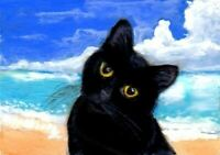 BCB Black Cat Beach Ocean Sky Clouds Print of Painting ACEO 2 1/2 x 3 1/2 Inch
