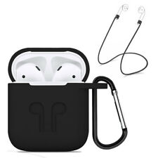 Strap Holder & Black Silicone Rubber Case Cover For Apple Airpods Accessories
