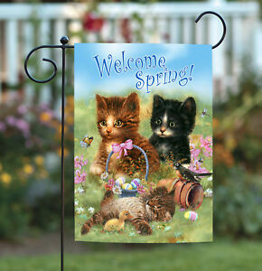 Toland Welcome Spring Kittens 12.5 x 18 Cute Kitty Cat Easter Garden Flag
