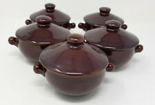 Denby Homestead Brown - 5 x Lidded Soup Bowl - Double Lugged.