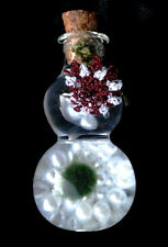 Baby Marimo Moss Ball Lucky Plant in Glass Bottle Faux Pearl Crochet Flower