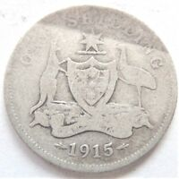 1915 Australia George V One Shilling, Grading About VERY GOOD..