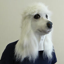 WHITE Poodle Dog Mask Latex Dog Full head Animal Fancy Dress Costume Masks New