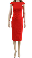 Karen Millen Red Bardot Neck Long Evening Pencil Cocktail Formal Dress UK 8 36