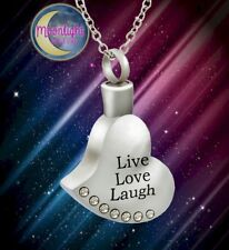 New Heart Live Love Laugh Crystal Cremation Urn Ash Silver Memorial Necklace