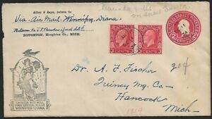 Canada 1934 First Flight cover US 2c envelope Winnipeg to Diana UNKNOWN INK MARK