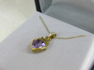 10k pure Gold purple Amethyst & Diamond Heart Pendant Necklace