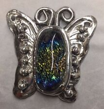 Handmade Original Signed Silver Butterfly Pendant with Rainbow Glass Cabochon