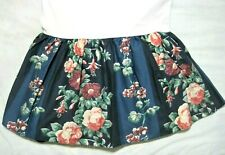Laura Ashley Double Bed Skirt Midnight Blue/Green Wide Stripes Roses Floral