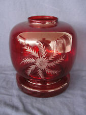 Vintage Wheel Cut Ruby Glass Hurricane Lamp with Base Candle Holder