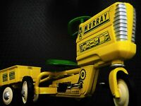 Pedal Yellow Tractor w Trailer Pedal Car Metal Collector >>READ FULL DESCRIPTION