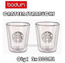 NEW BODUM STARBUCKS NEW LOGO DOUBLE WALL CLEAR COFFEE TEA GLASSES CUPS x2 200ML