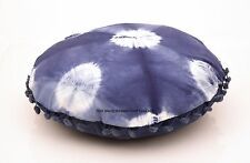 Indigo Pillow Tie Dye Cushion Cover Shibori Pillowcase Indian Round Throw 16""