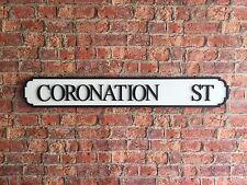 CORONATION ST Vintage Wood London Street Road Sign