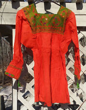 Maya Mexican Blouse Top Shirt Embroidered Geometric Huipil Chiapas Medium Orange