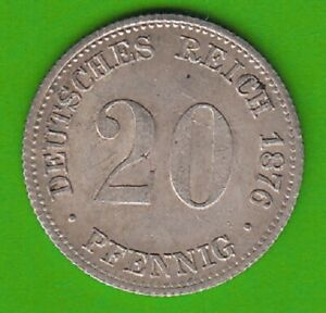 Empire 20 Pfennig 1876 E Better Than XF Very Nice nswleipzig