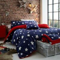 Star Teddy Bear Fleece Duvet Quilt Cover Set Soft Warm Winter Bedding Kids Xmas