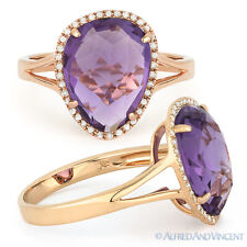 Right-Hand Ring in 14k Rose Gold 3.87ct Checkerboard Amethyst Round Diamond Halo