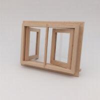 Dollhouse Miniature Unpainted Wooden Mini 2-Pane Window DIY Fittings 12th Decor