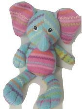 """Plush Mary Meyer Blue Elephant Embroidered 14"""" Stuffed Animal Toy Plush HTF Rare"""