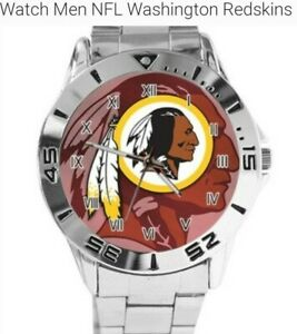 NEW NFL FOOTBALL WASHINGTON REDSKINS  CASUAL STAINLESS STEEL QUARTZ WRIST WATCH