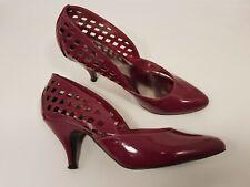 Faith Talla 4 (37) Imitación Charol granate Tribunal Zapatos Tacón ajustado