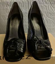 "MARTINEZ VALERO Wicked Black Kid Peep Toe Pump 4"" Heel Women's Shoes 8M"
