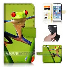 ( For iPod Touch 6 ) Wallet Flip Case Cover AJ40383 Frog