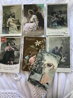 Lot 7 1900 Vtg French France Postcard RPPC Hand Colored Couple Romance Furia 038