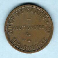 Australia Token.  De Carle & Co - 1d.   Melbourne Vic..  Tasmania reverse VF/aVF