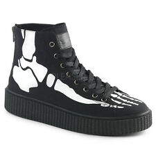 DEMONIA SNEEKER-252 Men's Black Platform Bones High Top Sneaker Creeper Shoes