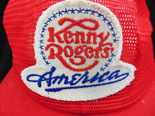 Vintage Kenny Rogers America Hat Snapback Embroidered Logo w Stars Red Trucker