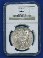1883 P NGC MS64 Morgan Silver Dollar $1 Better Date 1883-P NGC MS-64 PQ !
