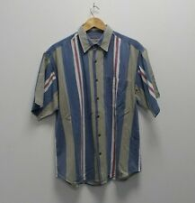 90s Vintage Woven Striped Short Sleeved Shirt Oi Polloi Wavey Garms Workwear L