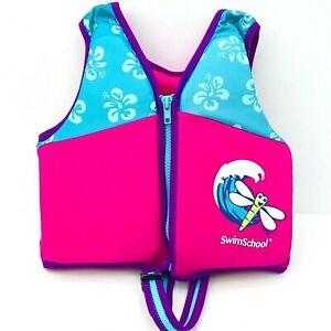 Girls Dragonfly Swim School Trainer Zip Vest AGES 4-6 years Life Jacket Pink