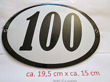 Hausnummer Oval Emaille  schwarze Nr. 100  weißer Hintergrund 19 cm x 15 cm