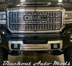 2014-2018 GMC Sierra Gloss Black Emblem Blackout Overlay Decals - Set of 2