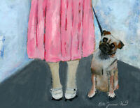 Original Boxer Dog Painting Morning Dog Walk Katie Jeanne Wood