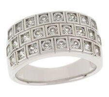 Epiphany Platinum Clad Diamonique 100-Facet Multi-row Ring Size 6 - QVC