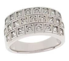 Epiphany Platinum Clad Diamonique 100-Facet Multi-row Ring Size 6 - QVC