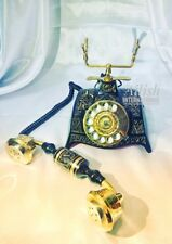 NEW BRASS VINTAGE MAHARAJA LOOK BLACK AND GOLDEN ROTARY DIAL VINTAGE TELEPHONE
