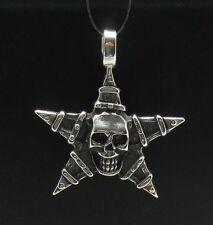 Skull Gothic Biker Sterling Silver Pendant Pentagram
