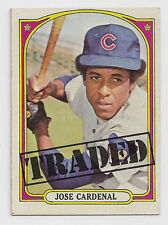 1972 Topps High Number Blank Back Proof Jose Cardenal Traded #757 Error Card!